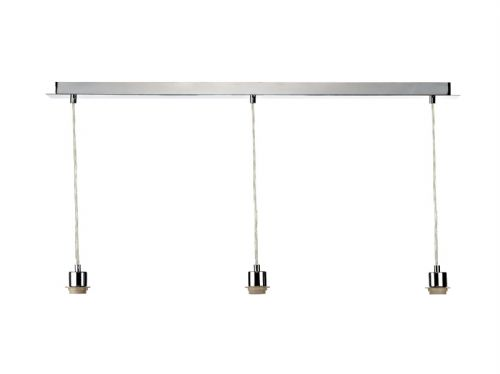 3 Light Polished Chrome E27 Suspension With Clear CabLE (Class 2 Double Insulated) BXSP365-17
